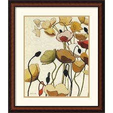 'Pavots Ondule I' by Shirley Novak Framed Painting Print