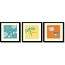 'Dragonfly, Bees and Blossoms' by Peter Horjus 3 Piece Framed Painting Print Set