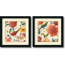 'Rainbow Garden Cream' by Lisa Audit 2 Piece Framed Painting Print Set