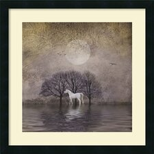 'White Horse in Pond' by Dawne Polis Framed Art Print