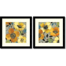 'Yellow and Orange Poppies' by Allison Pearce 2 Piece Framed Painting Print Set