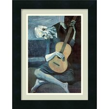 "The Old Guitarist by Pablo Picasso, Framed Print Art - 16.57"" x 12.94"""