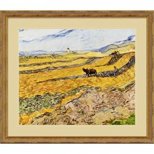 "<strong>Amanti Art</strong> Enclosed Field with Ploughman by Vincent Van Gogh, Framed Print Art - 26.5"" x 30.5"""