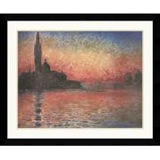 <strong>Amanti Art</strong> Dusk, Sunset in Venice, 1908 Framed Art Print by Claude Monet - Satin Black Frame