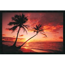 Tropical Beach Sunset Framed Print