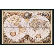 'Map Of the World' by Henricus Hondius Framed Graphic Art