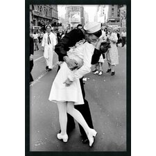 'Kissing on VJ Day Times Square' by Alfred Eisenstaedt Framed Photographic Print