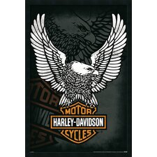 Harley Davidson Eagle Framed Vintage Advertisement