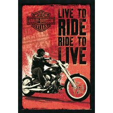 Harley Davidson Live to Ride Framed Vintage Advertisement