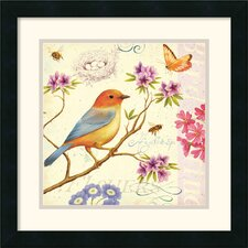 'Birds and Bees II' by Daphne Brissonnet Framed Graphic Art