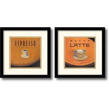 'Espresso and Mocha Latte' by Jillian David Design 2 Piece Framed Vintage Advertisement Set