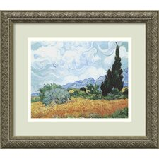 "<strong>Amanti Art</strong> Yellow Wheat and Cypresses by Vincent Van Gogh, Framed Print Art - 14.12"" x 16.12"""