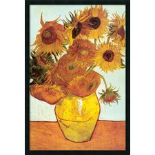 'Sunflowers on Blue' by Vincent Van Gogh Framed Painting Prints