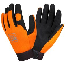 Pit Pro Mechanics Style Synthetic Leather Gloves in Palm Orange - Large