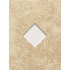 "Ash Creek 12"" x 9"" Glazed Wall Tile Accent with Diamond Cutout in Almond"