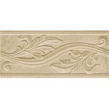 "Ash Creek 9"" x 4"" Glazed Ceramic Flora Accent Tile in Almond"