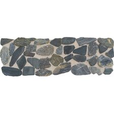 "Highland Ridge 12"" x 4"" Decorative Border Tile in Dark Riverstone Pebble"