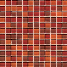 "Legacy Glass 1"" x 1"" Glazed Wall Mosaic in Red Blend"