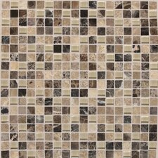 "Legacy Glass 5/8"" x 5/8"" Glazed Glass and Stone Mosaic in Tannery Blend"