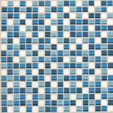 "Legacy Glass 5/8"" x 5/8"" Glazed Glass and Stone Mosaic in Ocean Blend"