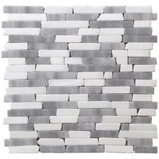 "Traditional 12"" x 12"" Random Strip Mosaic in White/Grey Mix"