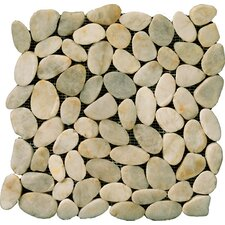 Natural Stone Random Sized Flat Rivera Pebble Mosaic in Cream