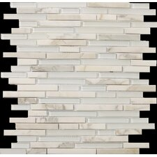 Lucente Linear Random Sized Stone and Glass Unpolished Mosaic in Ambrato