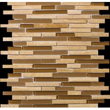 Lucente Linear Random Sized Stone and Glass Unpolished Mosaic in Tromba