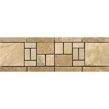 "Natural Stone 12"" x 4"" Travertine Vino Listello in Barbera"