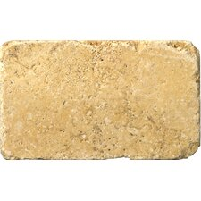 "Natural Stone 3"" x 6"" Travertine Vino Tumbled Tile in Gold"