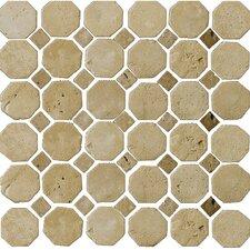 Natural Stone Random Sized Travertine Octagon Mosaic in Beige/Mocha