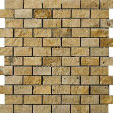 Natural Stone Travertine Split Face Brick-Joint Mosaic in Gold