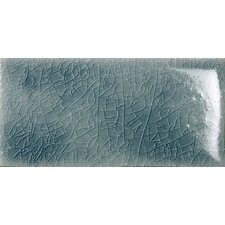 "Cape Cod 3"" x 6"" Double Fire Glazed Ceramic Wall Tile in Ocean Blue Crackle"