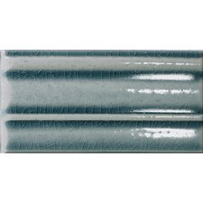 "<strong>Emser Tile</strong> Cape Cod 9"" x 5"" Crown Base Molding Stop Left Tile Trim in Ocean Blue Crackle"