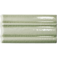 "Cape Cod 9"" x 5"" Crown Base Molding Stop Left Tile Trim in Willow Green Crackle"