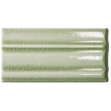 "Cape Cod 9"" x 5"" Crown Base Molding Stop Right Tile Trim in Willow Green Crackle"