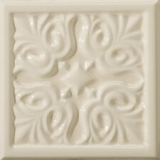 "Classica 6"" x 6"" Floral  Accent Tile in Cream"