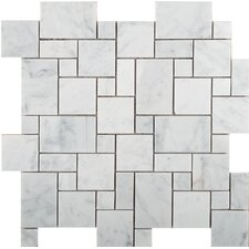 Natural Stone Random Sized Versailles Honed Marble Mosaic in Bianco Gioia
