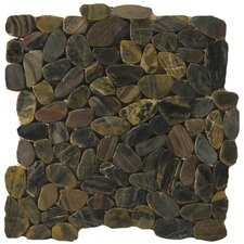 Natural Stone Random Sized Flat Rivera Pebble Mosaic in Forest