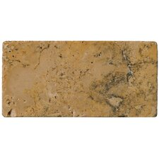 "Natural Stone 3"" x 6"" Tumbled Travertine Tile in Oro"