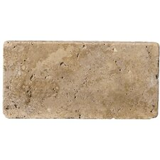 "Natural Stone 4"" x 8"" Tumbled Travertine Tile in Mocha"
