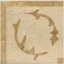 "Natural Stone 4"" x 4"" Lario Waterjet Travertine Listello Corner"