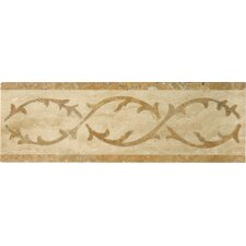 "Natural Stone 12"" x 4"" Lario Waterjet Travertine Listello"