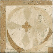 "Natural Stone 4"" x 4"" Menaggio Waterjet Travertine Listello Corner"