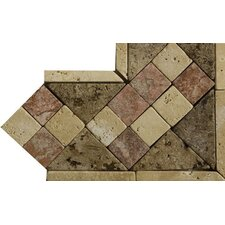 "Natural Stone 4"" x 4"" Dual Travertine Listello Corner"