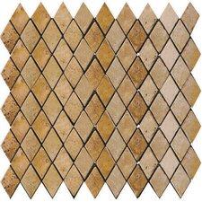 Natural Stone Tumbled Travertine Rhomboid Mosaic in Oro