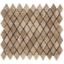 "Natural Stone 2"" x 1-1/4"" Travertine Rhomboid Mosaic in Mocha"