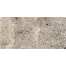 "Natural Stone 3"" x 6"" Tumbled Travertine Tile in Silver"