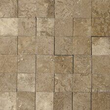 "Natural Stone 12"" x 12"" 3D Travertine Mosaic in Mocha"