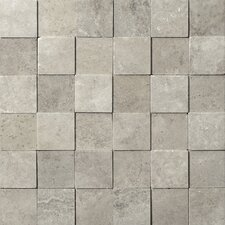 "Natural Stone 12"" x 12"" 3D Travertine Mosaic in Silver"